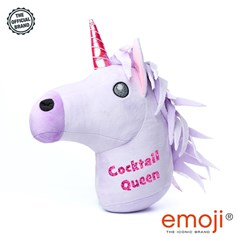 Cocktail Queen' Glitter Unicorn emoji® Brand Cushion | Official Licensed Product