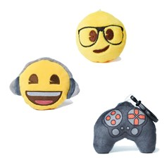 Geek, Headphones and Controller emoji® Key Chain Pack | emoji® Key Chain gift pack