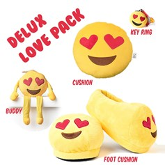 Heart Eyes emoji Cushions Deluxe Multi Pack - Size Large UK 9-11 feet | emoji® Cushion gift pack