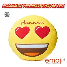 Personalised emoji® children's cushion. Create your unique Heart Eyes gift now!