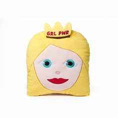 'GRLPWR' Women's Day glitter Princess emoji® Brand Cushion | Official Licensed Product
