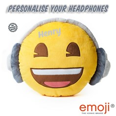 Personalised emoji® children's cushion. Create your unique Headphones gift now!