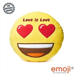 Love is love' Glitter Heart Eyes emoji® Brand Cushion | Official Licensed Product
