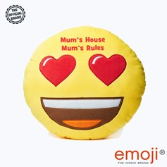 Mum's House Mum's Rules' Heart Eyes emoji® Brand Cushion | Official Licensed Product