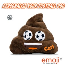 Personalised Poo Football Eyes emoji® Brand Cushion | Official Licensed Product
