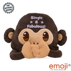 Single & Fabulous' Glitter Monkey emoji® Brand Cushion | Official Licensed Product