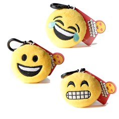 Happy, Crying with Laughter, Cheesy Grin emoji Key Chain Pack | emoji® Key Chain gift pack