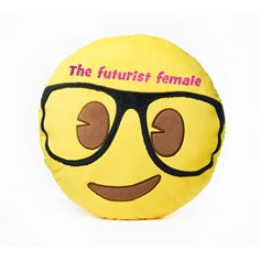 'The futurist female' Women's Day glitter Geek Face emoji® Brand Cushion | Official Licensed Product