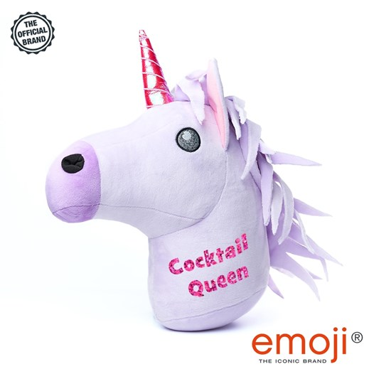 Cocktail Queen' Glitter Unicorn emoji® Brand Cushion