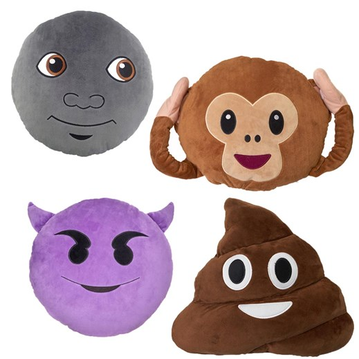 Poo, Monkey, Devil, Moon emoji Cushion Multi Pack