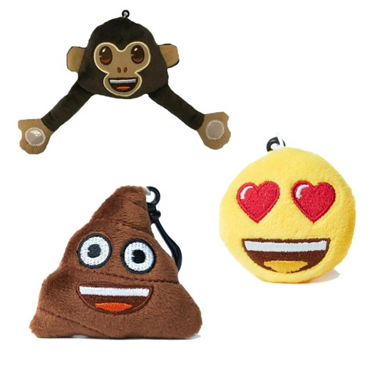 Heart Eyes, Monkey and Poo emoji® Key Chain Pack