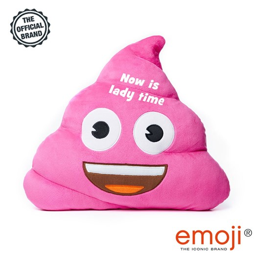 Now is lady time' Pink Poo emoji® Brand Cushion