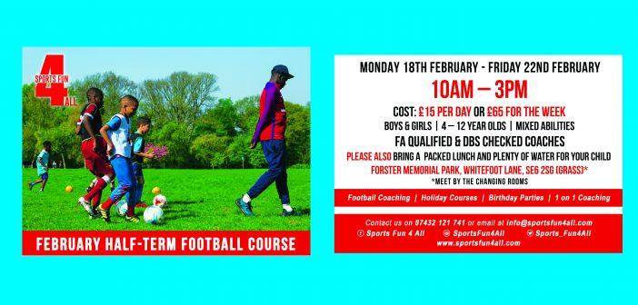 February Half Term Football Course – Sports Fun 4 All