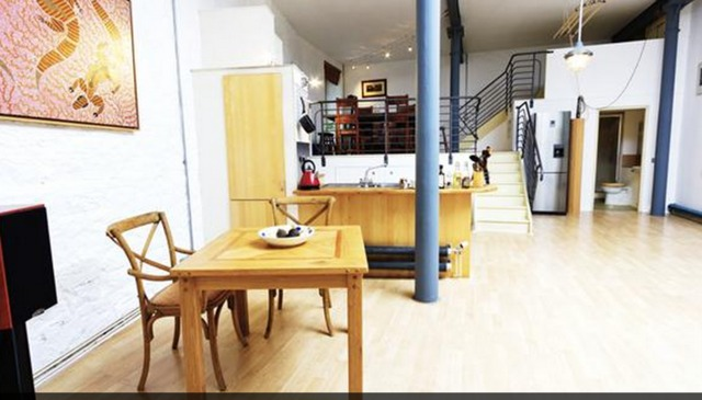 Open plan converted warehouse apartment