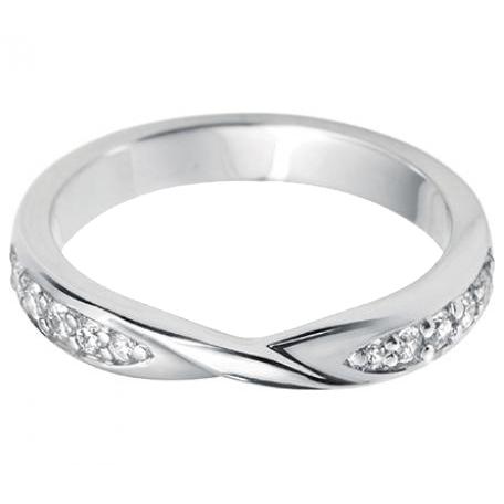 Shaped Twisted Ribbon Diamond Wedding Ring