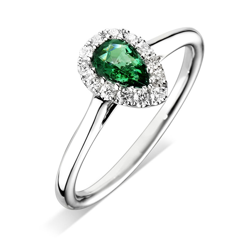 pear cut halo gemstone engagement ring