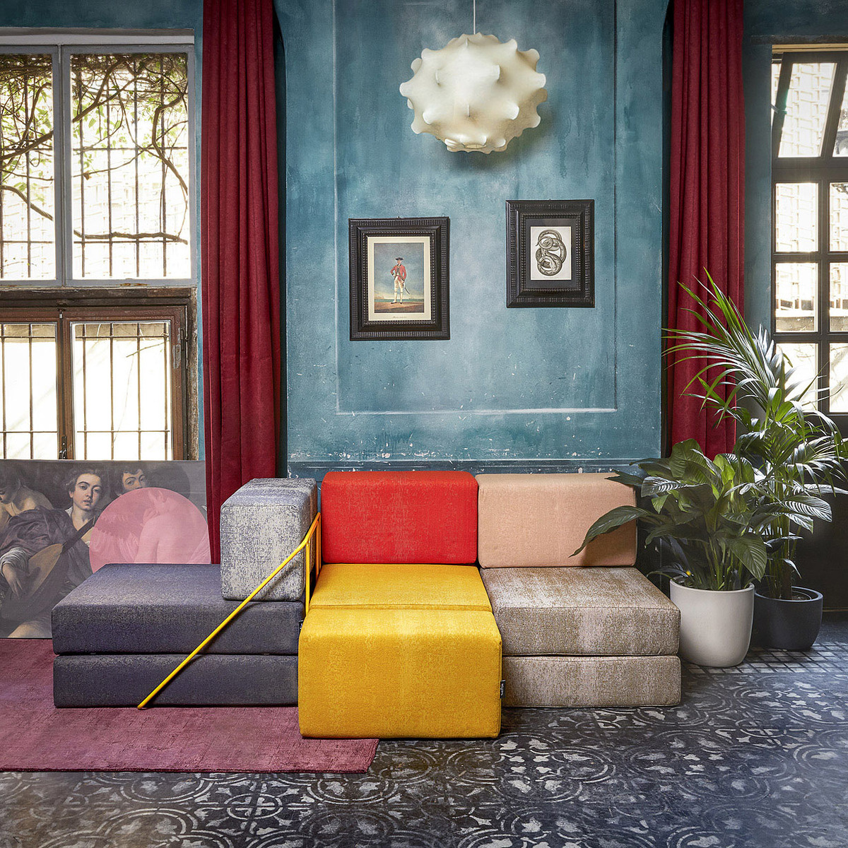 Seduta letto modulare rodolfo kvadrat blu avio lovethesign for Kvadrat tessuti arredamento