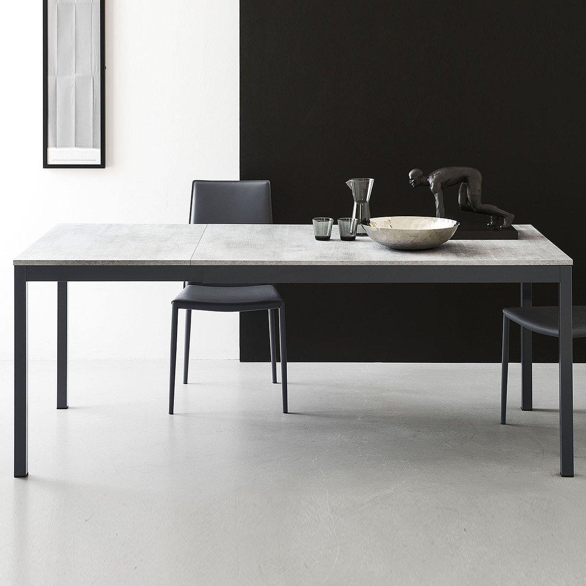 Tavolo rettangolare allungabile snap l 110 160 beton by for Tavolo rettangolare