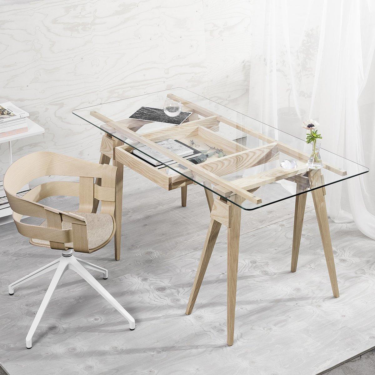 piano in vetro per scrivania arco by design house