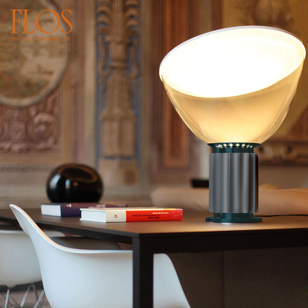 Taccia led table lamp small by flos lovethesign taccia led table lamp small watch the video aloadofball Images