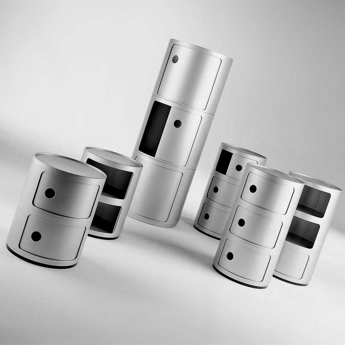 Mobile contenitore 2 elementi componibile silver by for Mobile contenitore