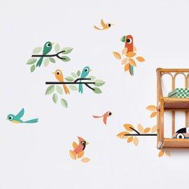 Stickers Uccellini verdi e arancioni