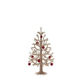 Christmas tree H 30 cm with red baubles