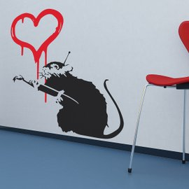 Sticker Banksy Love Rat