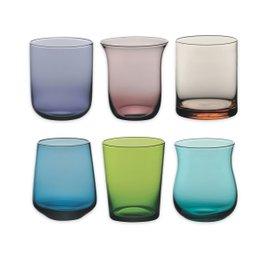 6 verres pour eau - couleurs assorties