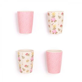 4 bicchieri Floral and Pink