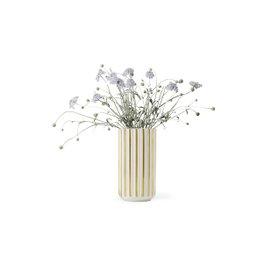 Vaso Lyngby H 15 cm - bianco e oro