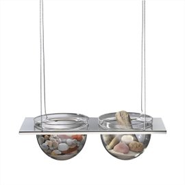 Suspended shelf with 2 half-spheres
