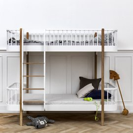 Wood bunk bed front ladder