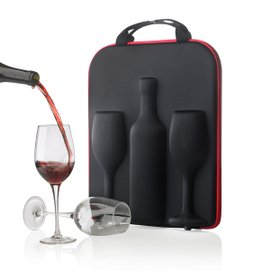 Swirl wine bottle & glasses case