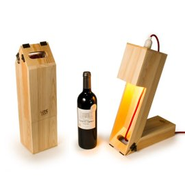 Scatola portabottiglie e lampada da tavolo Winelight