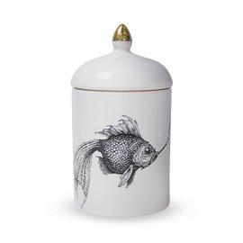 Portacandela con candela e coperchio Smokey Fish