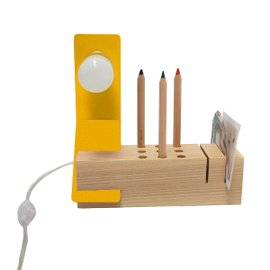 Edi desk lamp/organiser ash wood