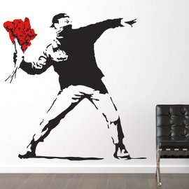 Sticker Banksy Throwing Flowers Large