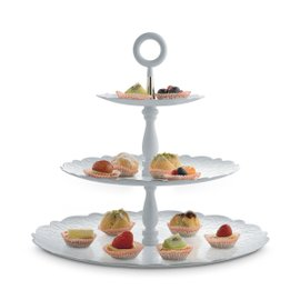 Dressed Xmas 3 levels white cake stand