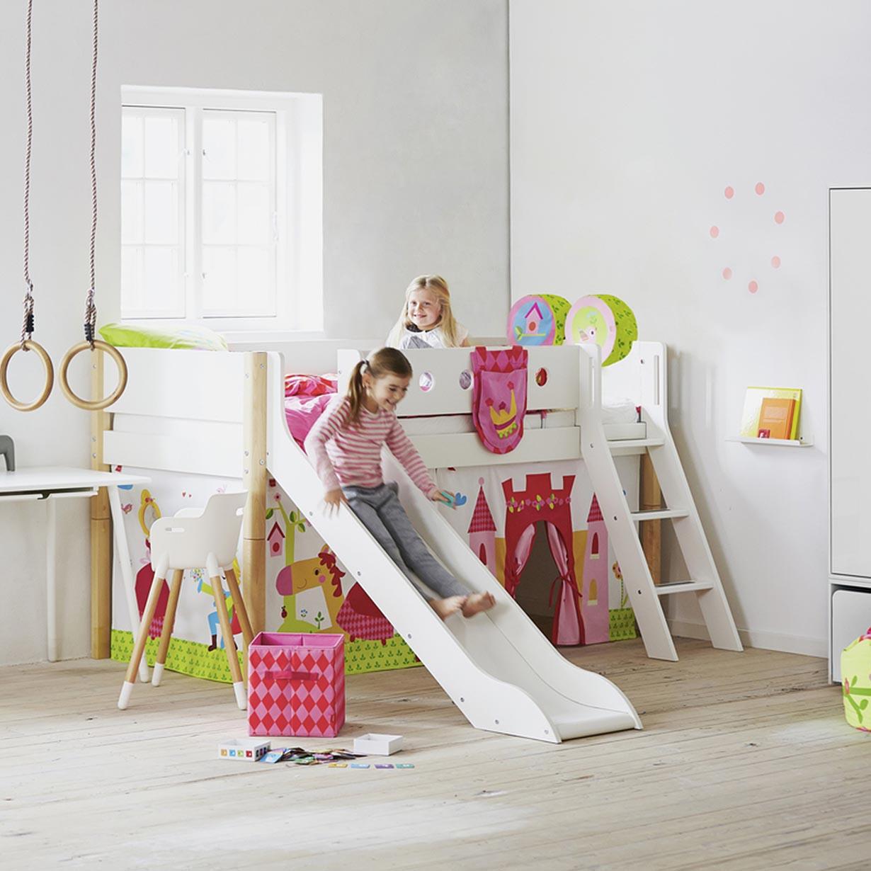 Letti Con Scivolo Per Bambini.Letto Semi Elevato White Con Scivolo E Scala Inclinata Naturale