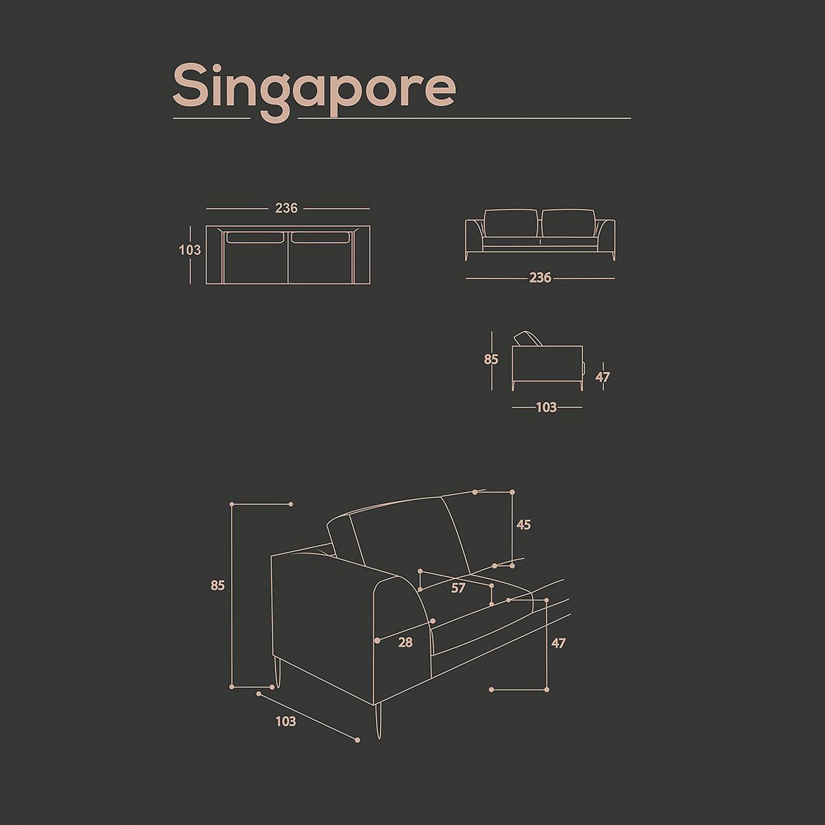 Divano a 3 posti Singapore