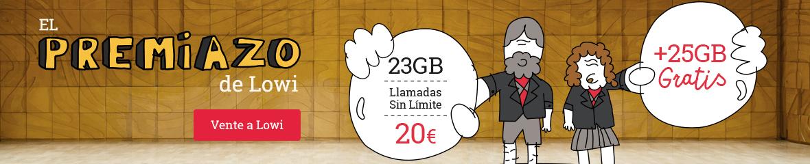 El PREMIAZO de Lowi: 23GB, llamadas sin límite a 20€ más 25GB gratis