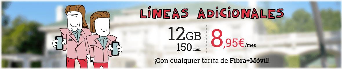 Fibra + 2 líneas móviles de 3GB a 42,90€. Una de las líneas móviles gratis durante un mes.
