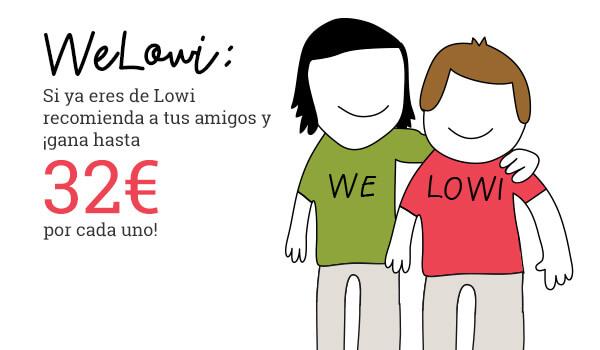 Si ya eres de Lowi recomienda a tus amigos y ¡gana hasta 32€ por cada uno!