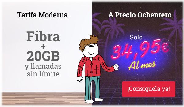 Fibra + 20GB y llamadas sin límite por solo 34,95€ al mes. ¡Consíguela ya!