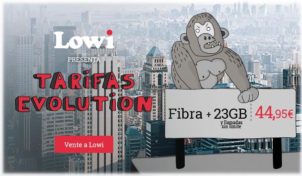 Tarifas Evolution: Fibra + 23GB y llamadas sin límite a 44,95€