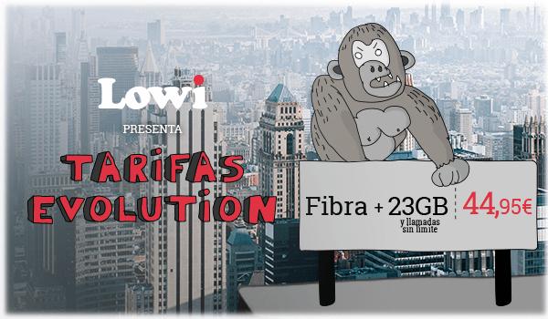 Lowi presenta Tarifas Evolution. Fibra + 23GB y llamadas sin límite: 44,95€