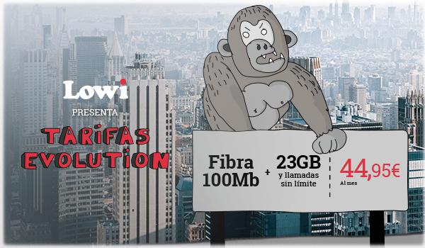 Fibra 100Mb + 23GB y llamadas sin límite por solo 44,95€ al mes.