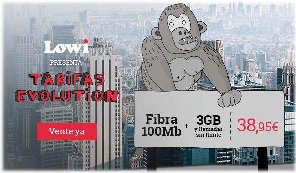Fibra 100Mb + 3GB + Llamadas sin límite a 38,95€. Vente a Lowi