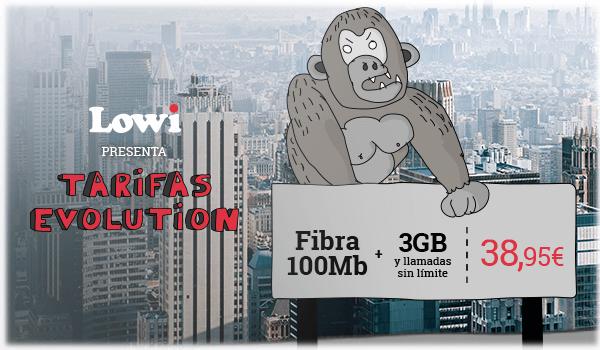 Tarifas Evolution: Fibra 100Mb + 3GB + Llamadas sin límite a 38,95€. Vente a Lowi